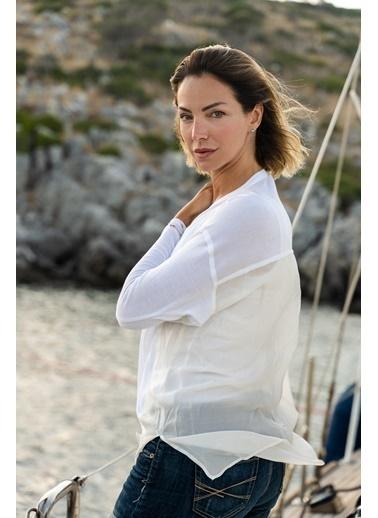 Silk and Cashmere İpek Karişimli Charlotte Uzun Kollu Hirka Beyaz